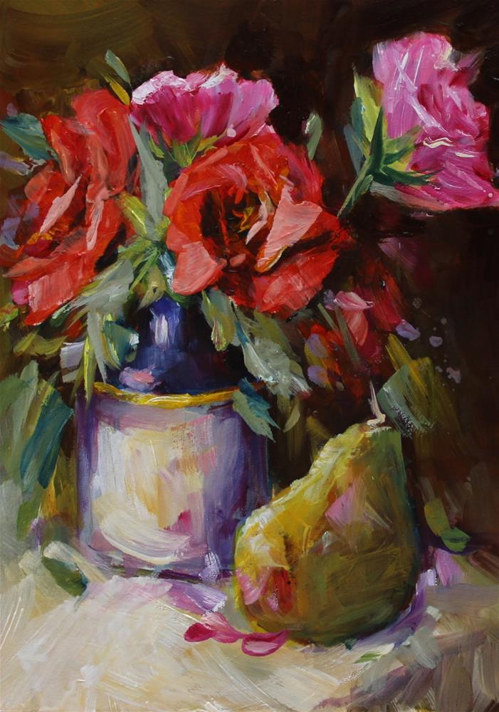 """Red Pink Roses Bouquet Floral Flower Still Life"" original fine art by Alice Harpel"
