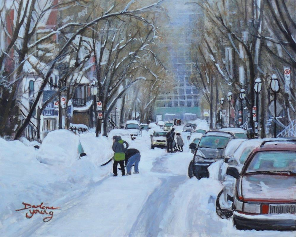 """1148 After the Storm, McGill Student Ghetto, egg tempera, 8x19"" original fine art by Darlene Young"