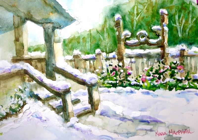 """winter rose trellis"" original fine art by Nora MacPhail"