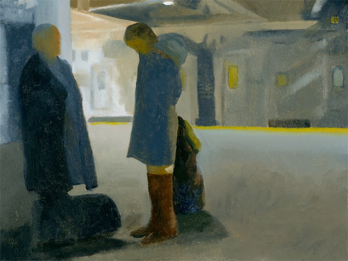 """""""In the Station, Father and Daughter"""" original fine art by Nancy Herman"""