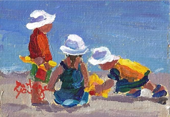 """927 Beach Kids,2.5x3.3, oil on board"" original fine art by Darlene Young"