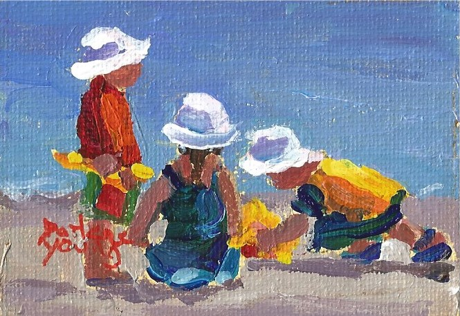 """927 Little White Caps,2.5x3.3, oil on board"" original fine art by Darlene Young"
