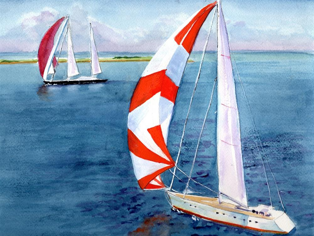 """Sailboats"" original fine art by Bunny Griffeth"