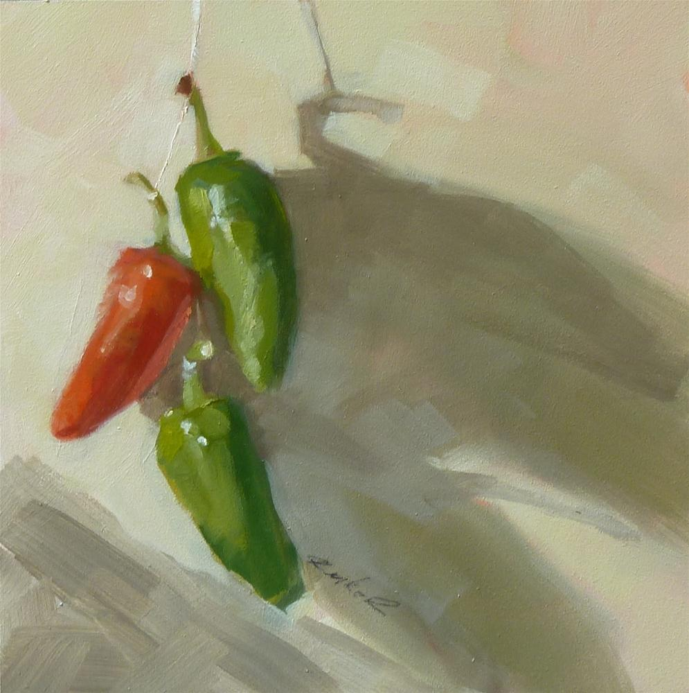 """One Red Two Green"" original fine art by Ron Ferkol"