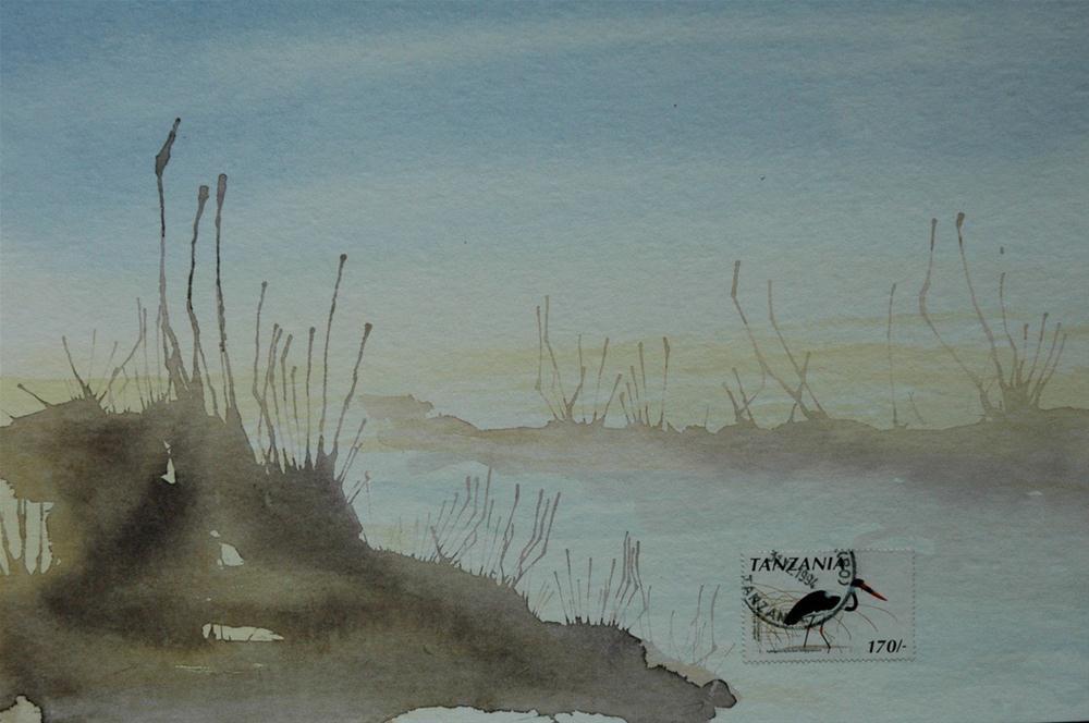 """Sattelstorch, Tansania (Saddle Stork Tanzania)"" original fine art by Ulrike Schmidt"