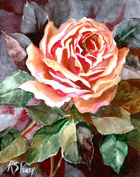 """One Big Pink Rose "" original fine art by R. S. Perry"
