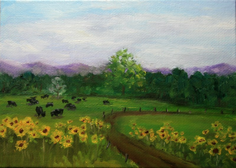 """Sunflower Ranch Road"" original fine art by Jean Nelson"