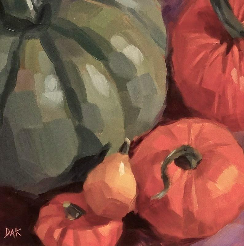"""""""Pumpkin Celebration"""" original fine art by Deborah Ann Kirkeeide"""