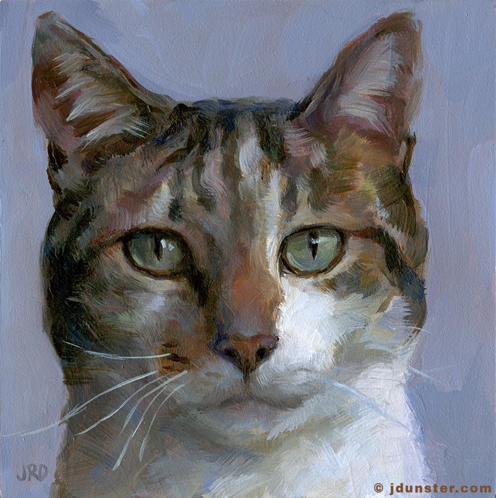 """Patch Tabby Cat Head"" original fine art by J. Dunster"