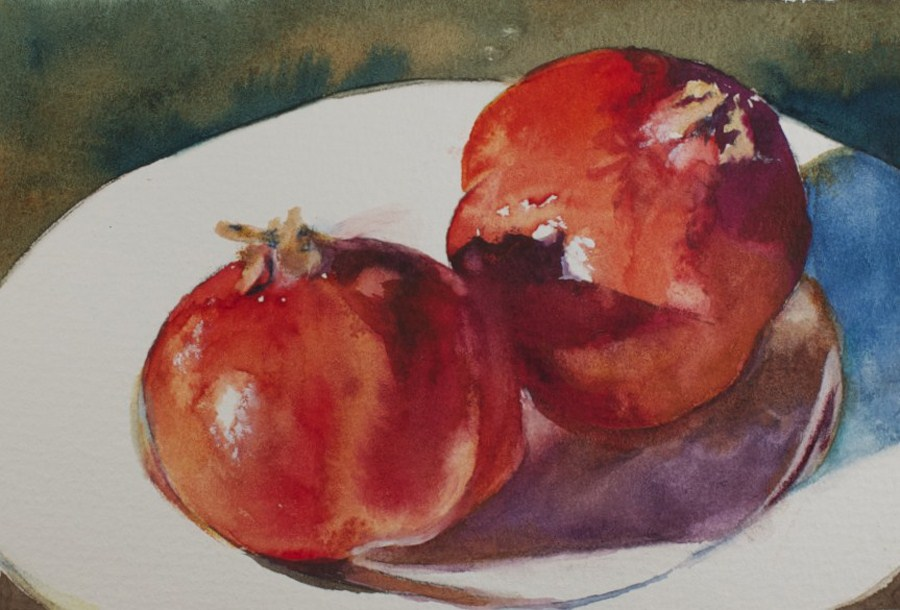 """Pomegranates for Sonja"" original fine art by Sue Churchgrant"
