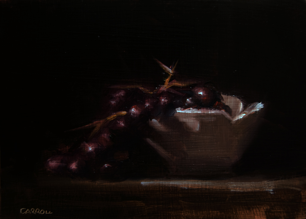 """""""Grapes with White Bowl"""" original fine art by Neil Carroll"""
