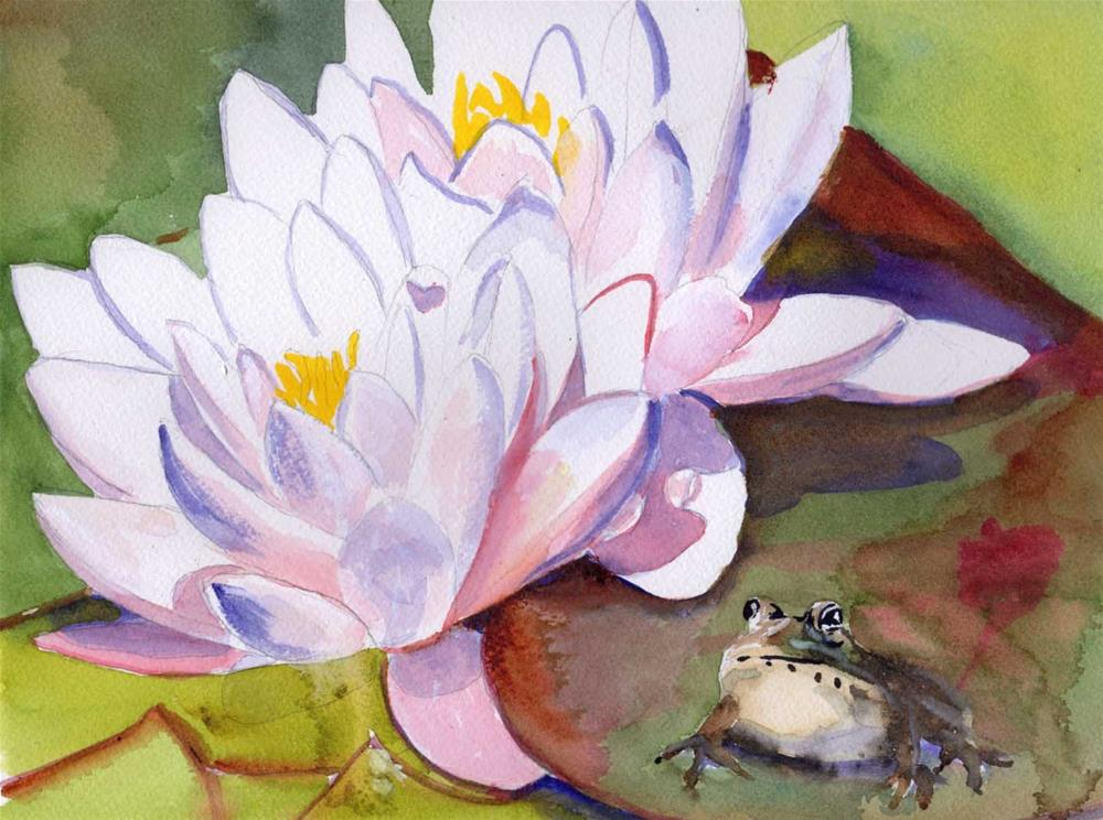 """""""Pink Water Lily and Frog"""" original fine art by Bunny Griffeth"""