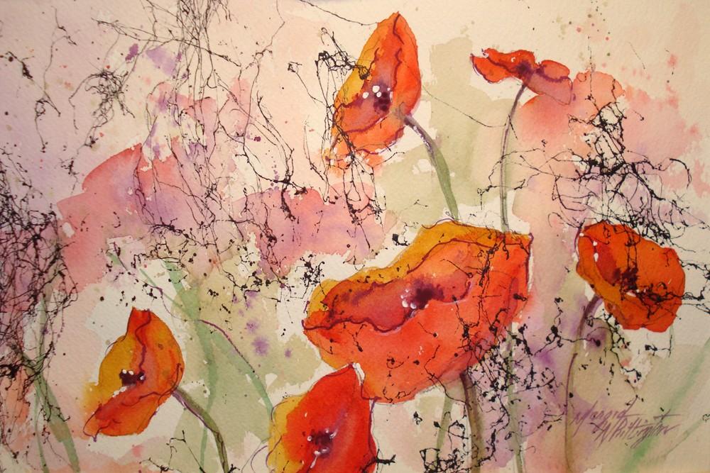 """Poppies"" original fine art by Margie Whittington"