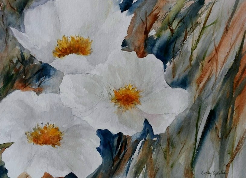 """White Flowers"" original fine art by Cathy Dykstra"