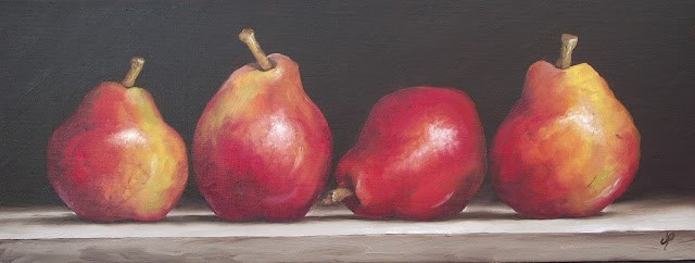 """""""Four Red Pears"""" original fine art by Jane Palmer"""
