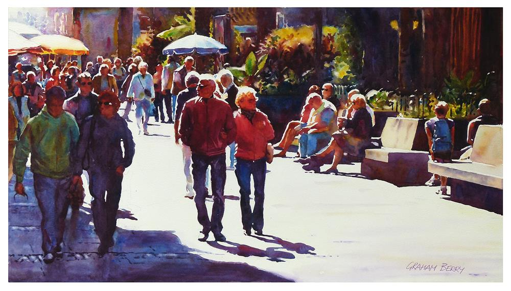 """""""Walking by Plaza del Charco."""" original fine art by Graham Berry"""