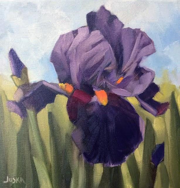 """""""Iris - Violet Tones #3"""" original fine art by Elaine Juska Joseph"""
