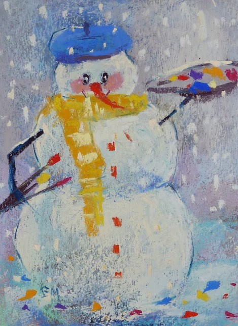 """""""Happy Holidays From My Yearly Snowman"""" original fine art by Karen Margulis"""
