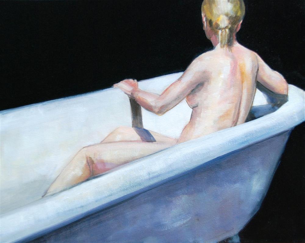 """Nude in Cast Iron Tub"" original fine art by Christina Dowdy"