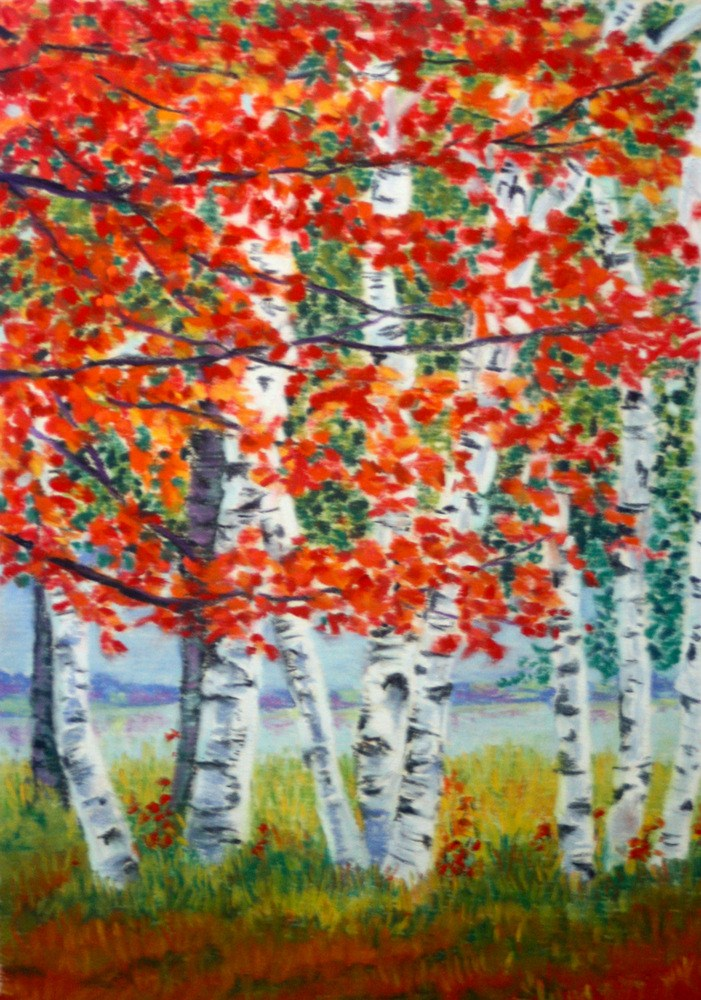 """""""A Host of Birches and One Red Maple"""" original fine art by Jill Bates"""