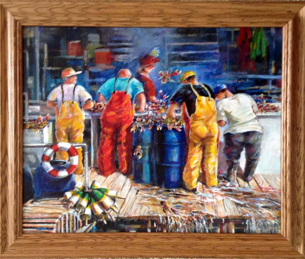"""Working on lobsters"" original fine art by Wenqing Xu"