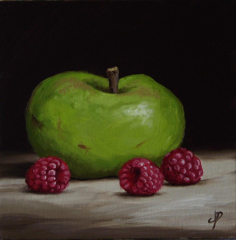 """Bramley Apple with Raspberries"" original fine art by Jane Palmer"