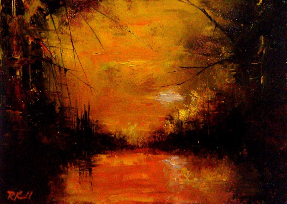 """Sunset on the Pond"" original fine art by Bob Kimball"