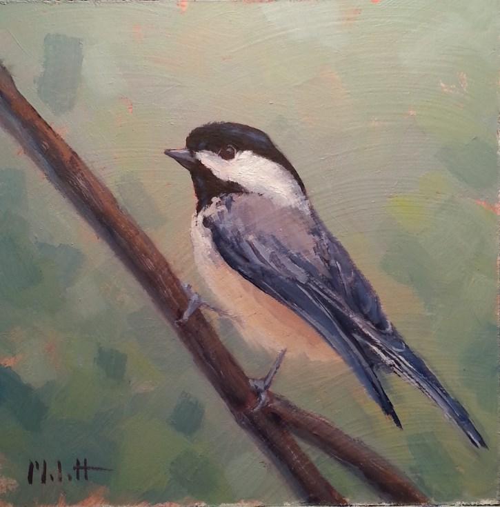 """Freedom Chickadee Bird Oil Painting"" original fine art by Heidi Malott"