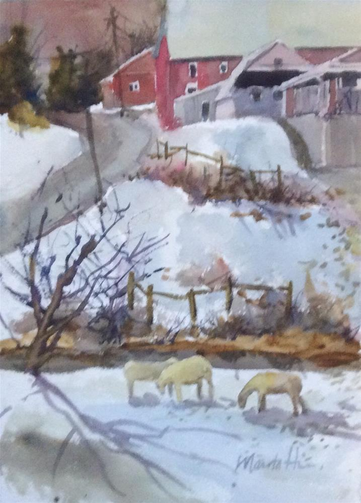 """Eating Snow"" original fine art by Marita Hines"