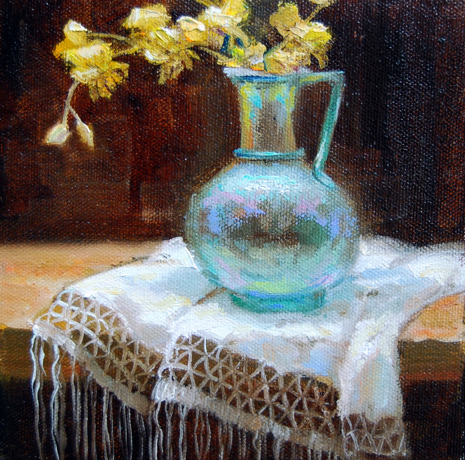 """Ancient Roman Vessel with Orchids"" original fine art by Julie Ford Oliver"