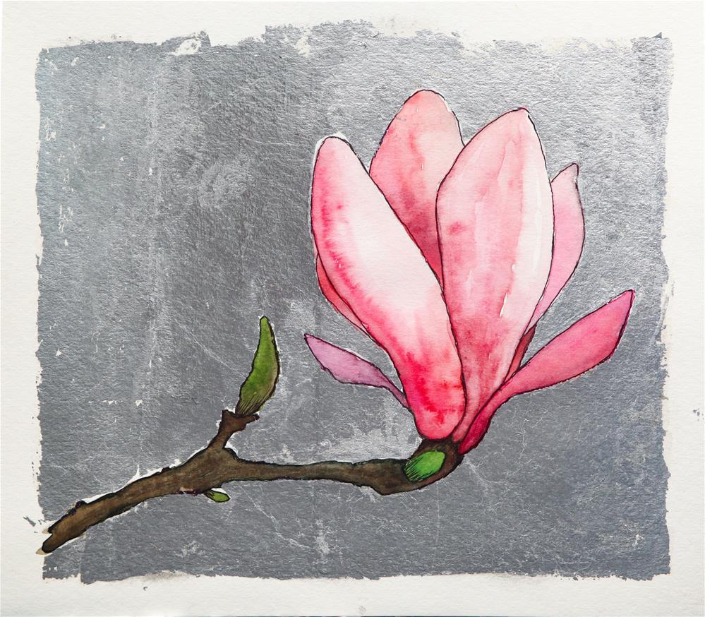 """Saucer Magnolia on Silver"" original fine art by Clair Hartmann"
