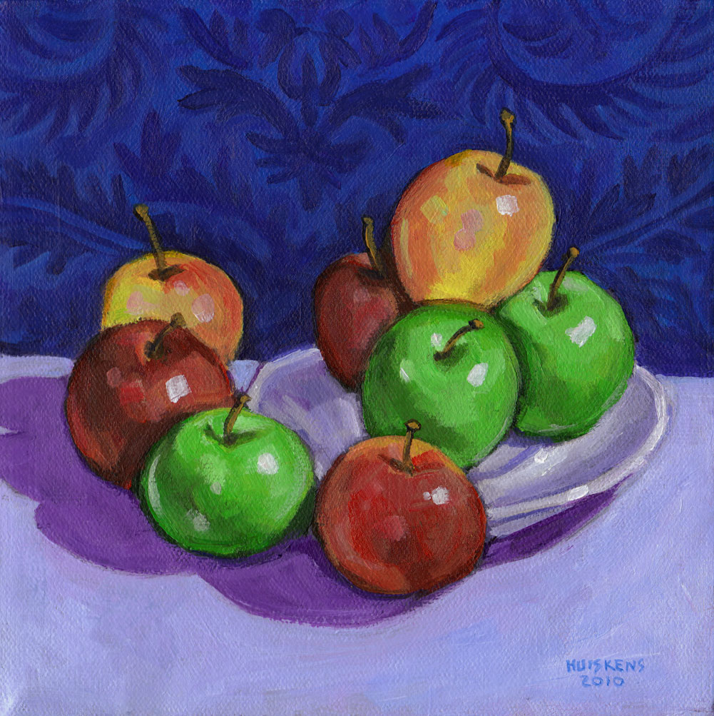 """Green And Red Apples No. 2"" original fine art by Randal Huiskens"