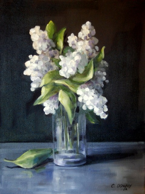 """White Hydrangea"" original fine art by Christina Dowdy"