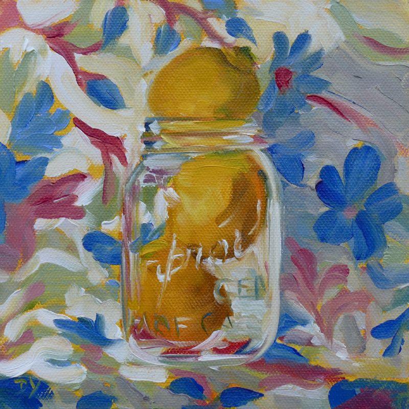 """""""Lemon Twist, oil on canvas board, 6x6"""" original fine art by Darlene Young"""