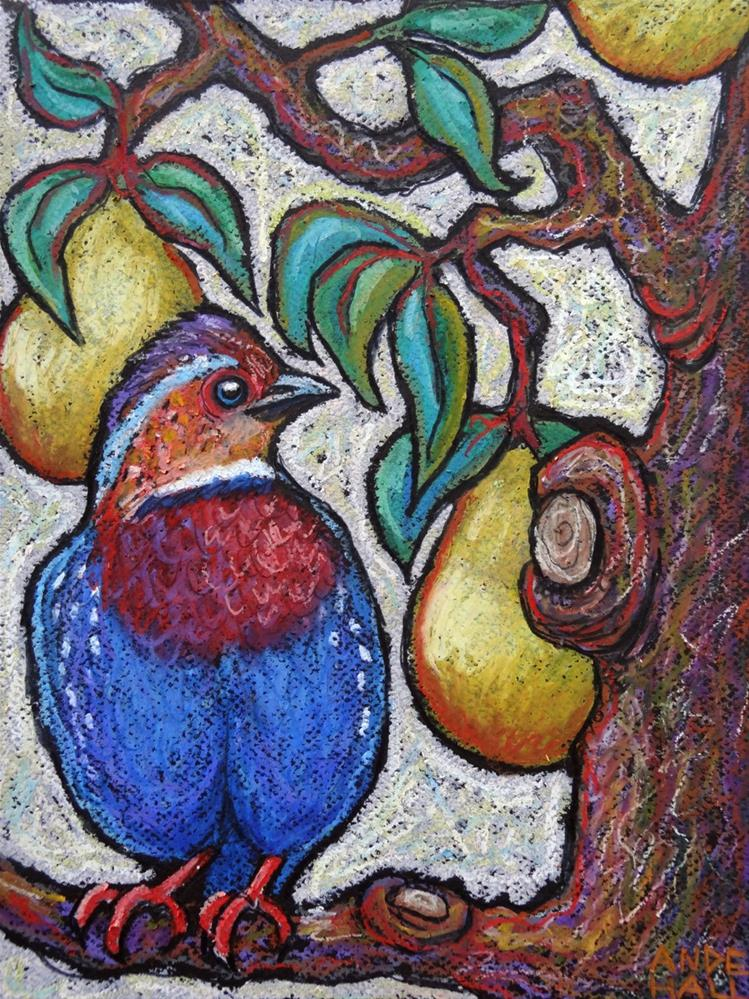 """""""Chestnut Breasted Partidge in a Pear Tree"""" original fine art by Ande Hall"""