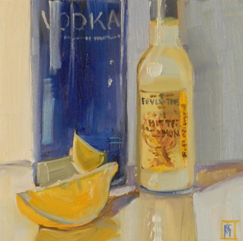 """Vodka and Bitter Lemon, 6x6 Inch Original Oil Painting by Kelley MacDonald"" original fine art by Kelley MacDonald"