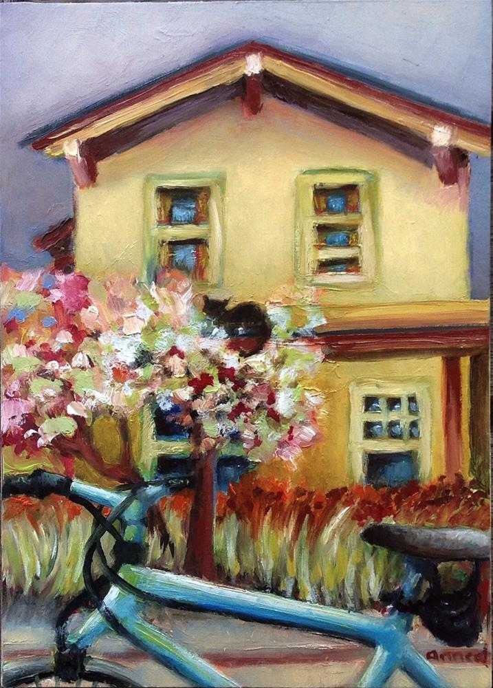 """""""The Berkeley Yellow House & Bicycle"""" original fine art by Anne Ducrot"""