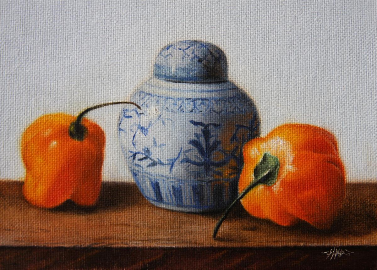 """""""Peppers & Vase"""" original fine art by Jonathan Aller"""