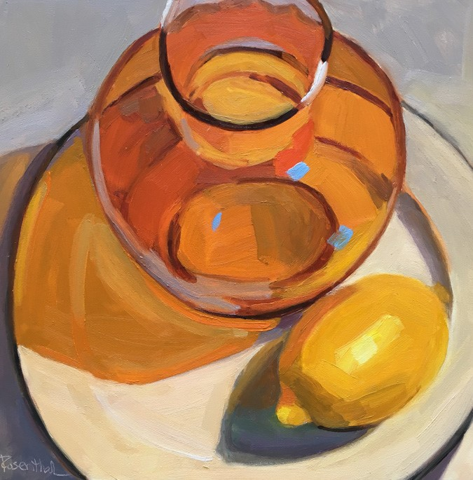 """Amber Vase on White Plate"" original fine art by Robin Rosenthal"