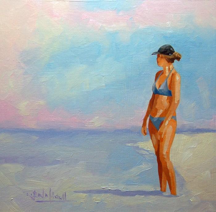 """No 578 Watching the Water"" original fine art by Robin J Mitchell"