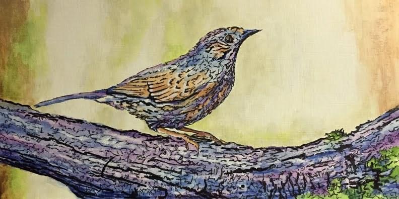 """""""Bird on a Branch"""" original fine art by Nan Johnson"""