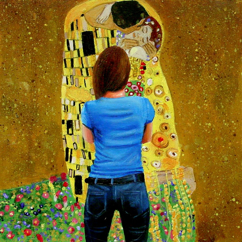"""The Kiss- Painting Of Woman Enjoying Painting The Kiss By Gustav Klimt"" original fine art by Gerard Boersma"