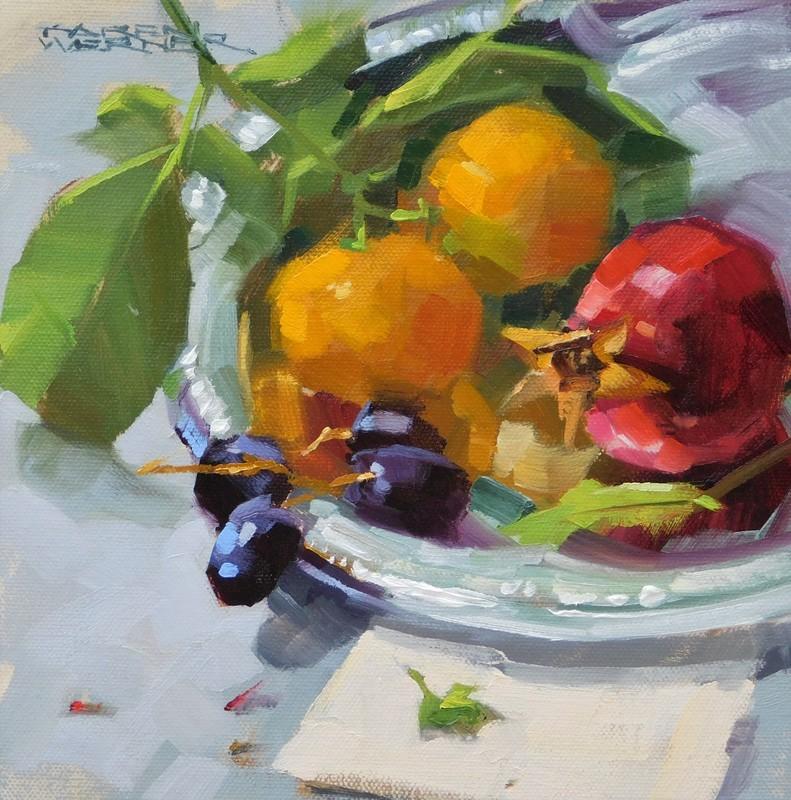 """""""Fruit On Silver"""" original fine art by Karen Werner"""