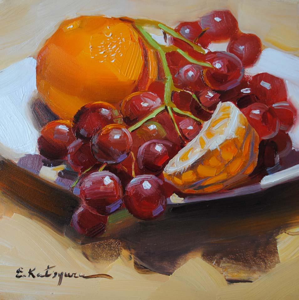 """Mandarine and Grapes"" original fine art by Elena Katsyura"