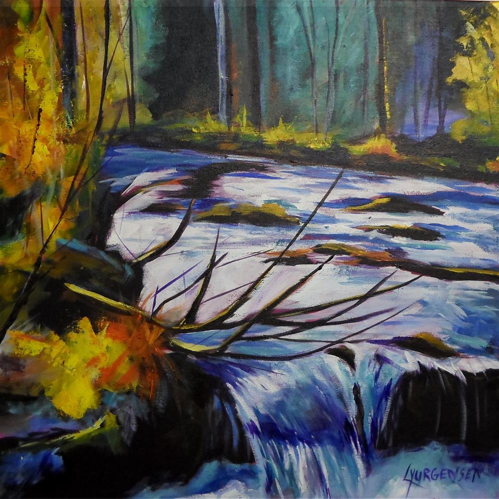 """18 x 18 inch acrylic Flowing River"" original fine art by Linda Yurgensen"