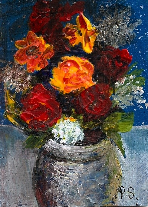 """""""ACEO Yellow Rose Red Flowers in Vase Impressionist Floral Still Life Penny StewArt"""" original fine art by Penny Lee StewArt"""