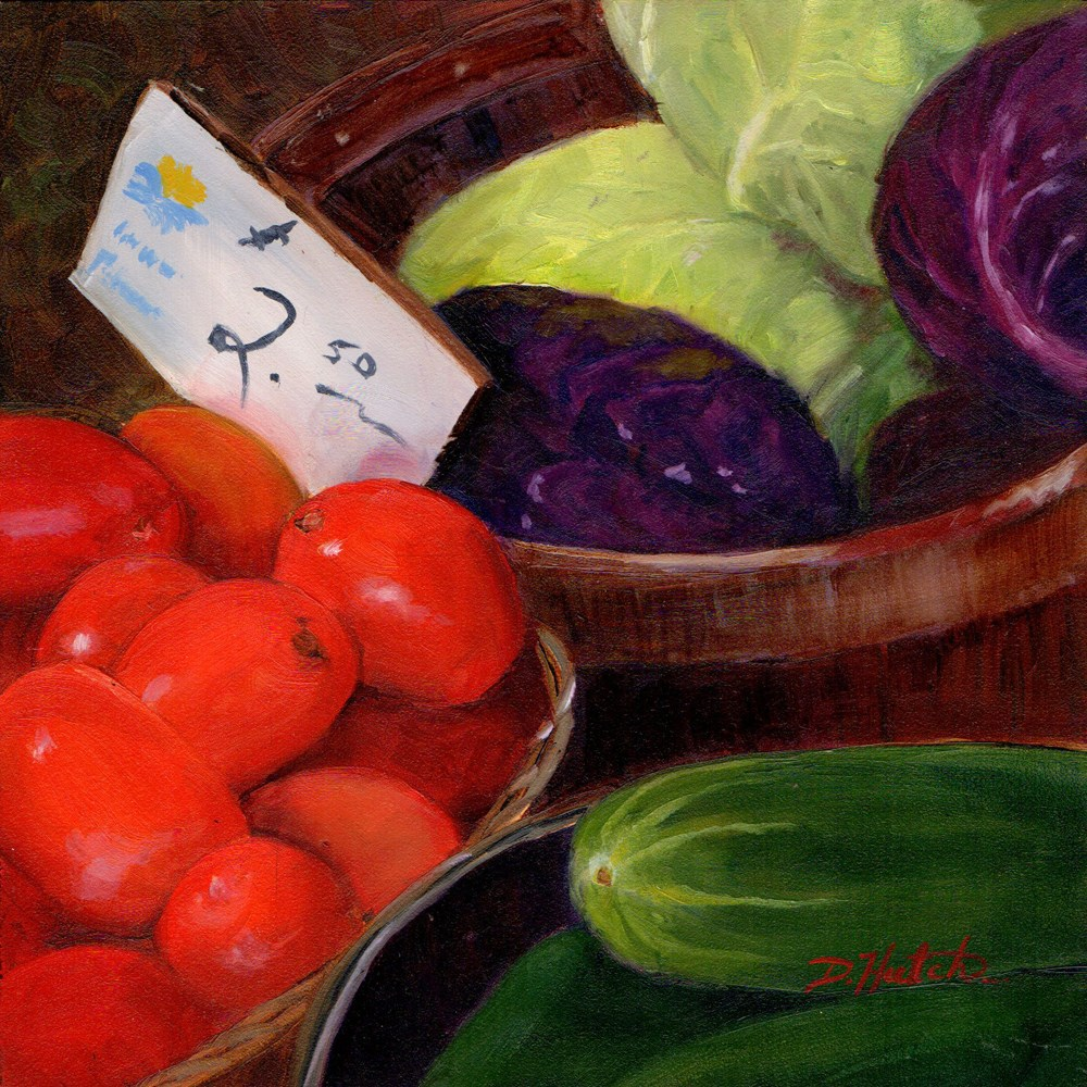 """Tomatoes, Cabbages and Cukes"" original fine art by Diane Hutchinson"