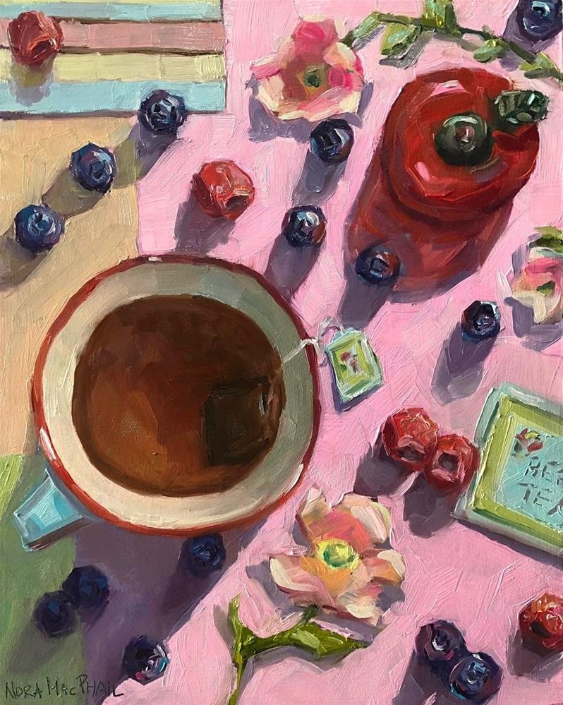 """""""Berry Tea Fly By"""" original fine art by Nora MacPhail"""