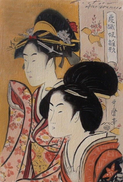 """""""After Utamaro - Two Beauties"""" original fine art by Phil Couture"""