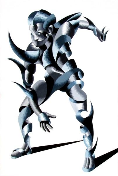 """Mark Adam Webster - Cesar 2203 - Abstract Geometric Futurist Figurative Oil Painting"" original fine art by Mark Webster"